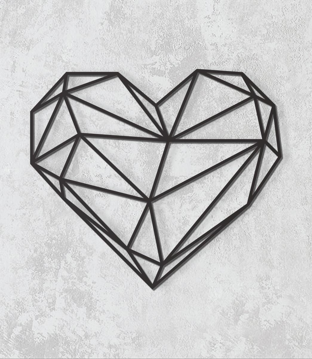 Decorativo 2D - Coração geométrica
