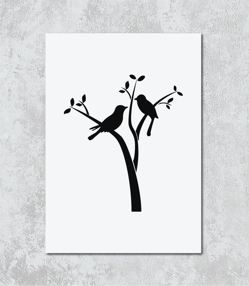 Decorativo - Desenho casal de pássaros