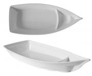 Barca Barco Sushi Açaí Sorvete Melamina Branca 41 cm