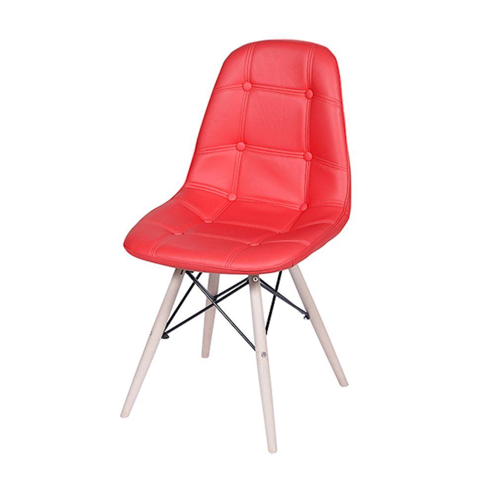 Cadeira Eames DKR TAPEÇADA BASE MADEIRA