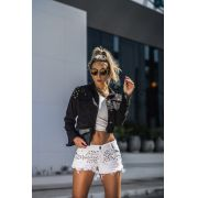Shorts desfiado glam branco