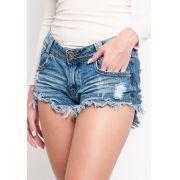 Shorts jeans desfiado passante degrant jeans com used