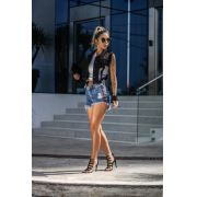 Shorts jeans cós alto com faixa personalizada jeans médio