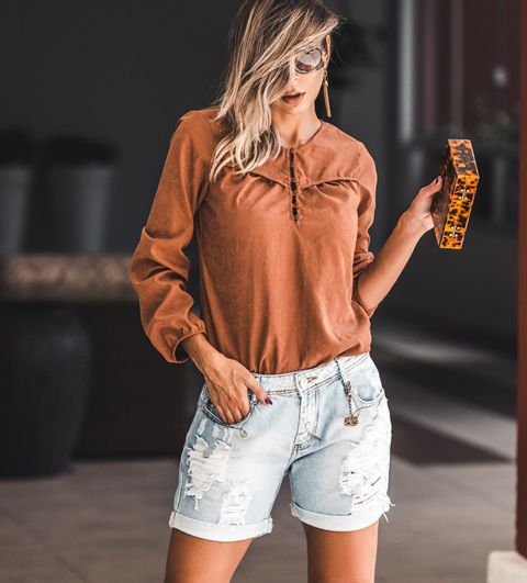 Bermuda Jeans Boyfriend Meia Coxa jeans Claro com Marcações