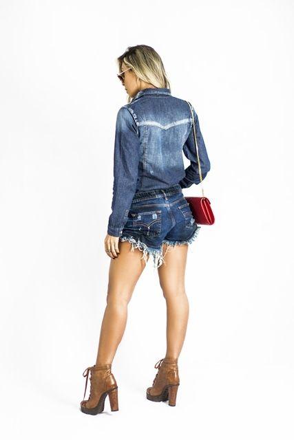 Camisa jeans recortes frente e costa feminina jeans com used
