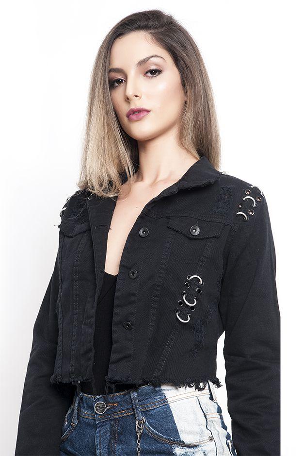 Jaqueta cropped com argola preto