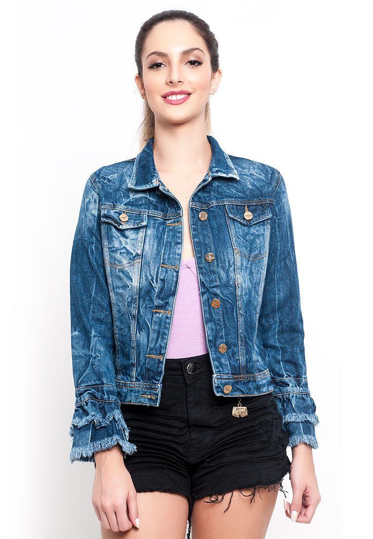 Jaqueta Feminina com babado jeans com rede
