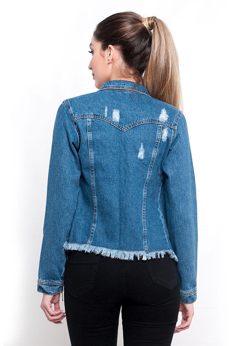 Jaqueta feminina zíper manga jeans com marcações