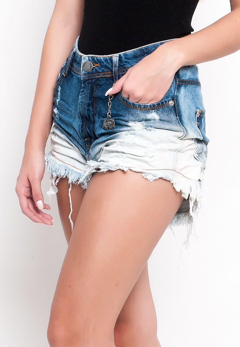 shorts jeans cós alto desfiado com bigode sky bicolor