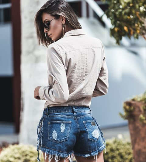 SHORTS JEANS LATERAL SUEDE JEANS MÉDIO