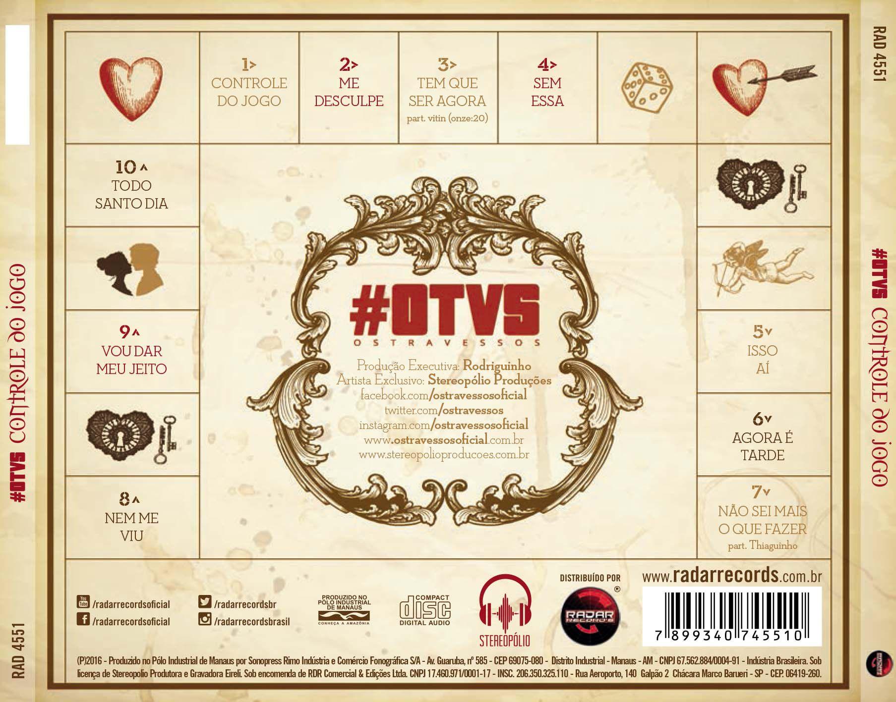 CD OS TRAVESSOS - CONTROLE DO JOGO