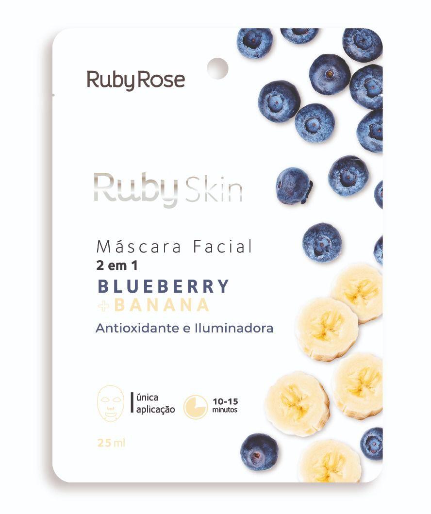 Máscara Facial De Tecido Blueberry E Banana Skin - Ruby Rose