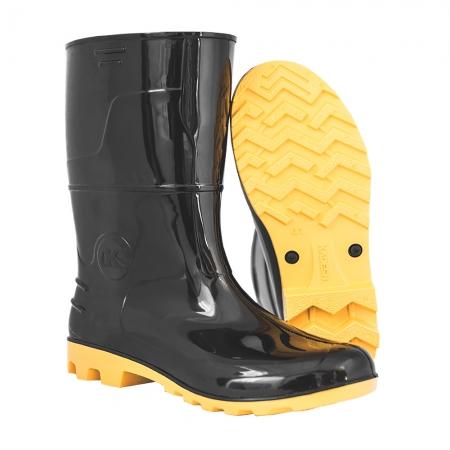 Bota Pvc Safety Boots Preta Sola Amarela 40 Kadesh - Imbiseg