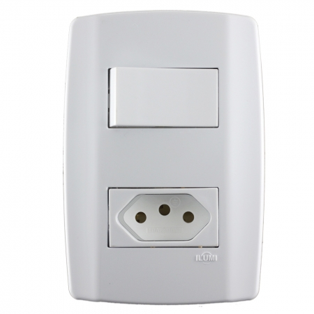 Conjunto 1 Interruptor Paralelo 10a + Tomada 10a - Slim - Ilumi