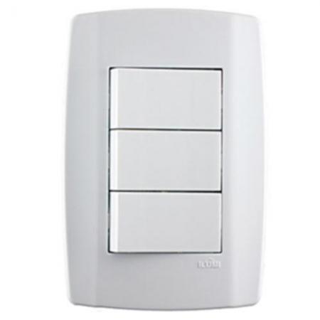 Conjunto 3 Interruptores Simples 10a Slim - Ilumi