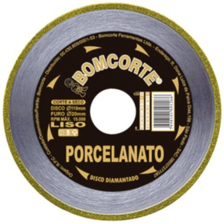 Disco Diamantado Porcelanato Seco Liso 110mm