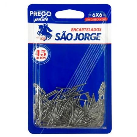 Prego Polido 06x06 C/Cabeça - 30g - São Jorge Emb. c/ 10