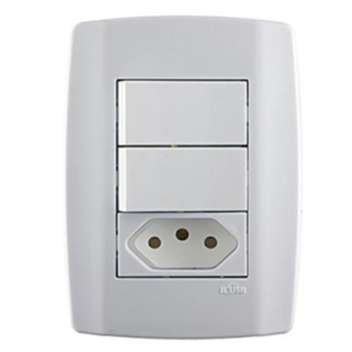 Conjunto 2 Interruptor Simples + Tomada 20a - Slim - Ilumi