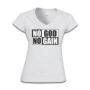 Camisa Feminina NO GOD NO GAIN - Gola V