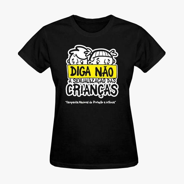 Camisa Feminina Preta Diga não a sexualização da Crianças