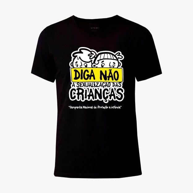 """Camisa Masculina Preta """"Diga não a sexualização da Crianças"""""""