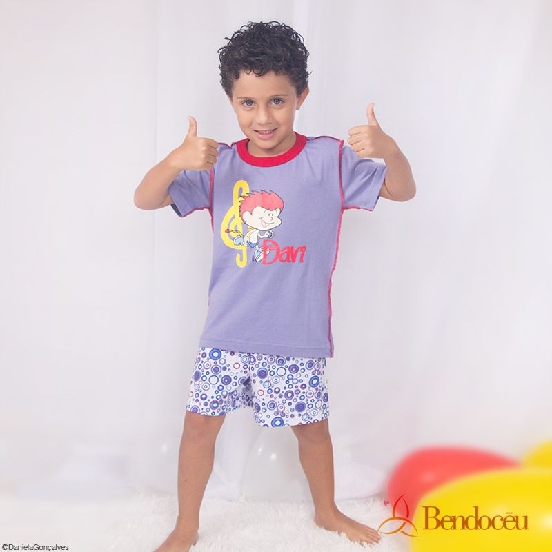 Pijama Davi- Modelo bebê - roxo verão  - Bençãos do Céu
