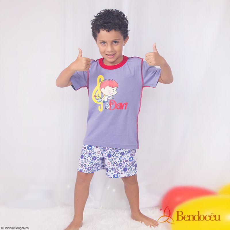 Pijama Davi- Modelo bebê - roxo verão