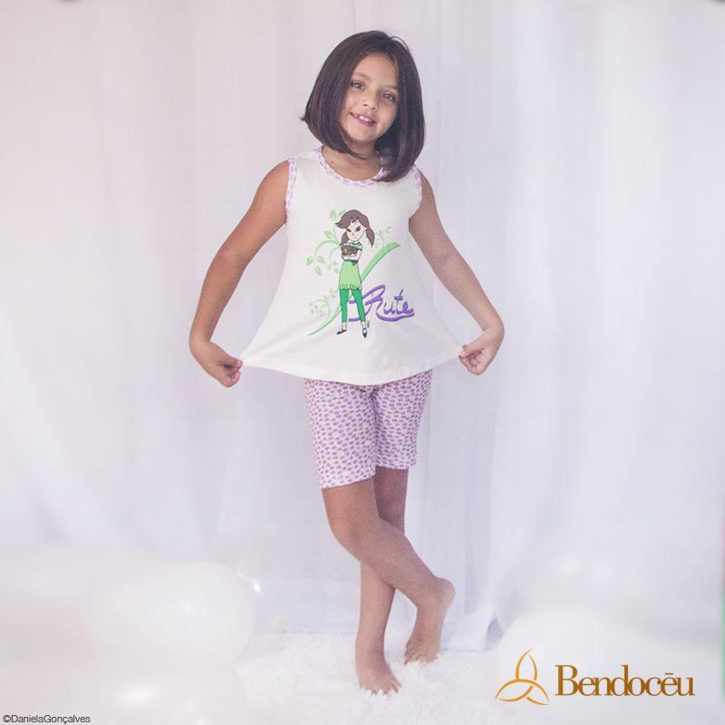 Pijama Rute - Modelo Violeta - verão  - Bençãos do Céu