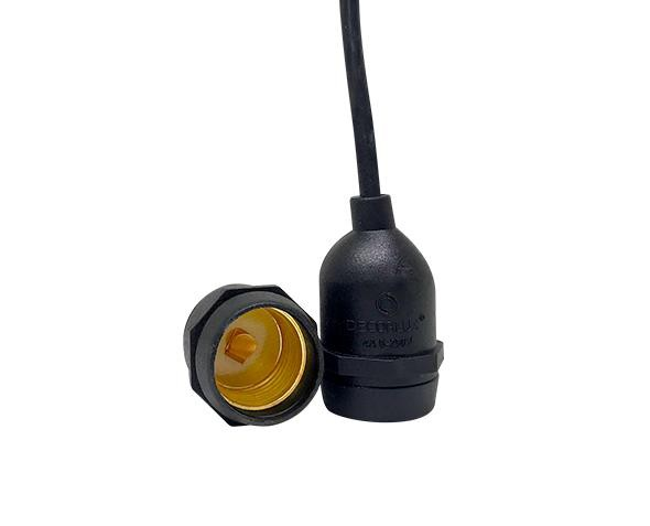 Bocal / Soquete E27 pendente rabicho, borracha isolado, cor preto, 4A, 0-250V, (caixa 20un.)
