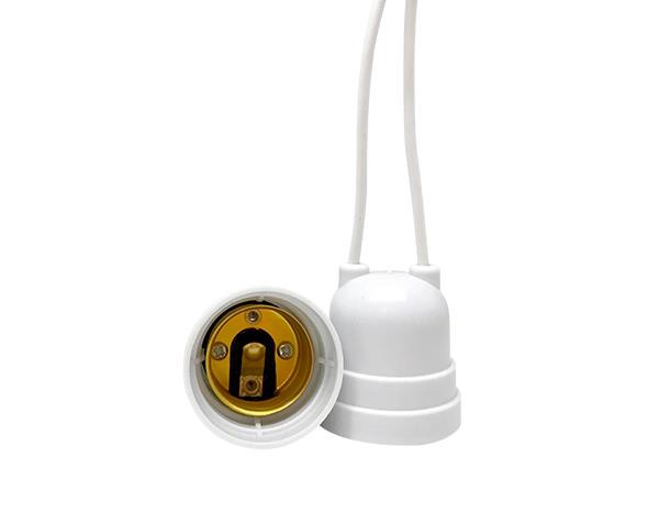 Bocal / Soquete E27 pendente rabicho termoplástico, cor branco, 4A, 0-250V, (caixa 50un.)