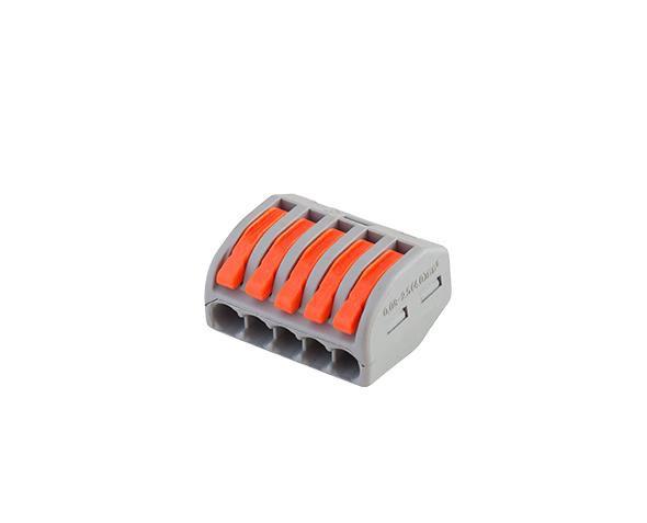 Conector de emenda e derivação 0,5 4mm, 5P, 32A, cor cinza, (pacote 5un.)