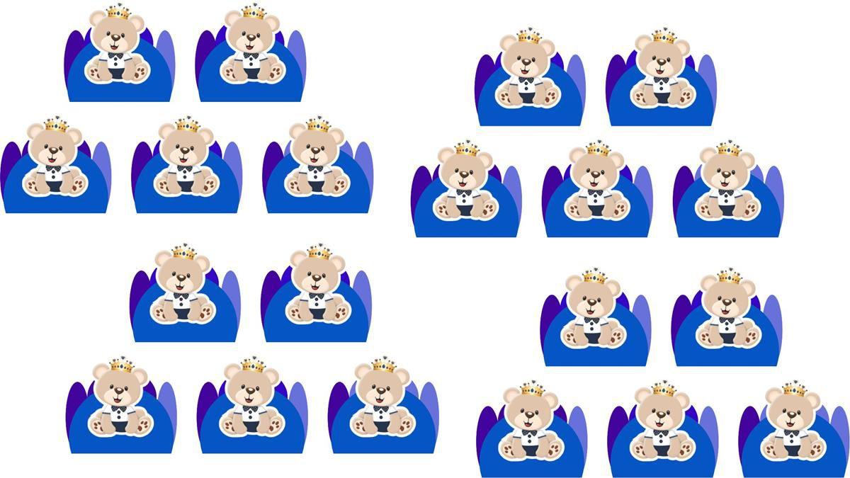 100 forminhas Urso Príncipe (azul escuro)