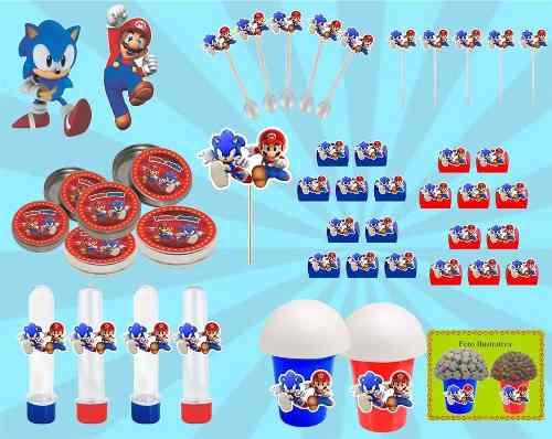 Kit Festa Infantil Sonic X Mario 143 Peças