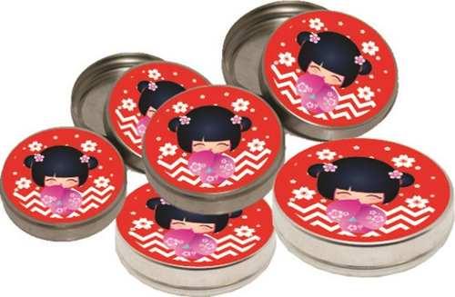 Kit Festa Boneca Japonesa Kokeshi Vermelha 143 Peças