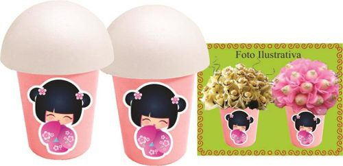 Kit Festa Boneca Japonesa Kokeshi Rosa 143 Peças
