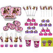 Kit Festa Infantil Masha E O Urso (pink E Lilás) 352 Peças