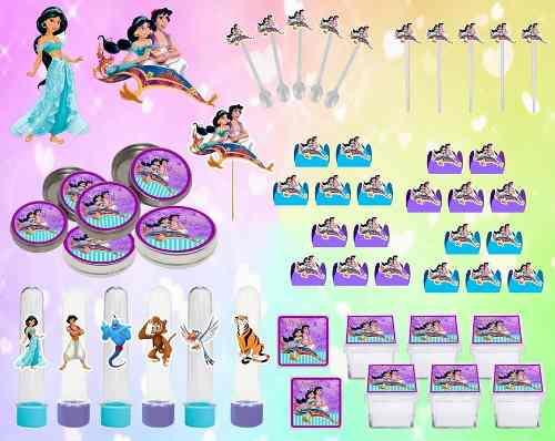 Kit Festa Infantil Aladdin E Jasmine 161 Peças
