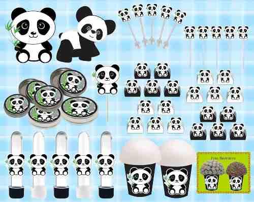 Kit Festa Infantil Panda Menino (preto E Branco) 99 Peças