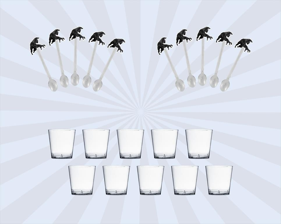 50 Mini colher + 50 copo transparente 25 ml Pantera Negra