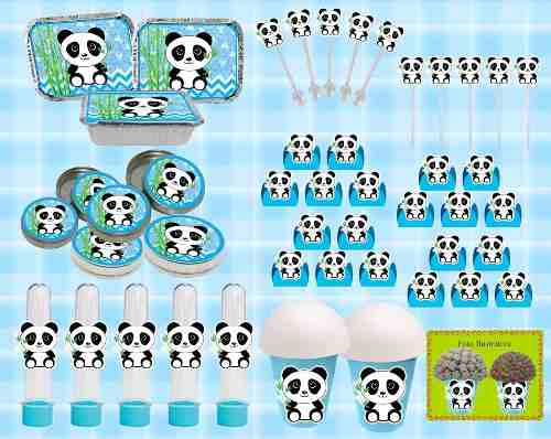 Kit Festa Panda Menino Azul 160 Peças