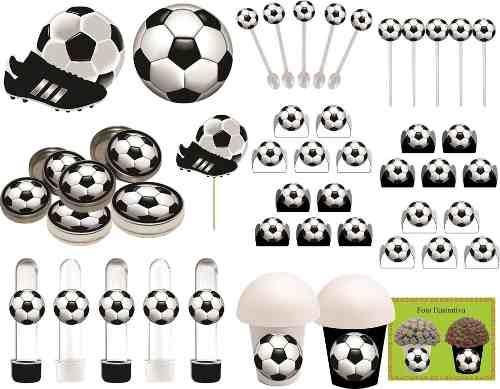 Kit Festa Infantil Futebol Preto E Branco 265 Peças