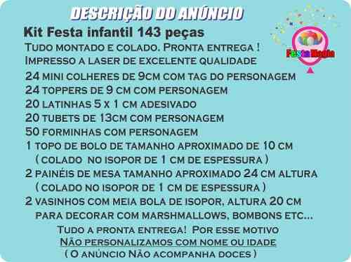 Kit Festa Infantil 3 Palavrinhas 143 Peças