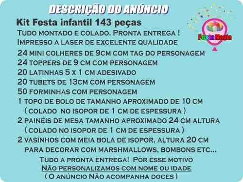 Kit Festa Infantil Minnions 143 Peças
