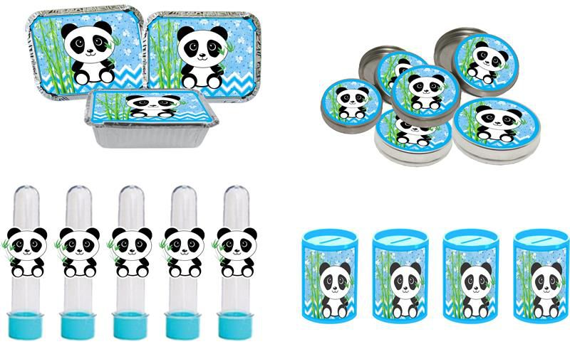 kit cofrinho, latinha, marmitinha e Tubete Panda menino azul 40 peças