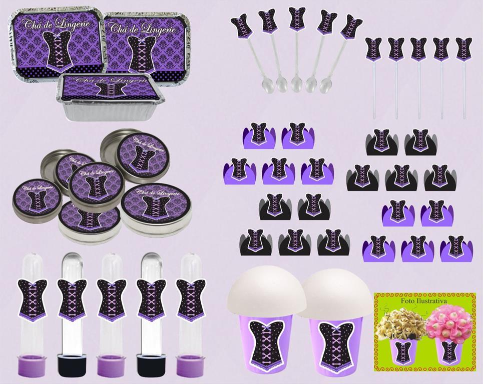 kit festa Chá de Lingerie (lilás e Preto) 160 peças
