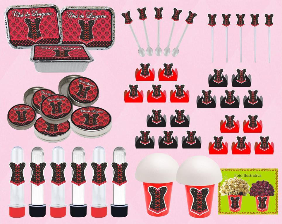 kit festa Chá de Lingerie (vermelho e Preto) 160 peças
