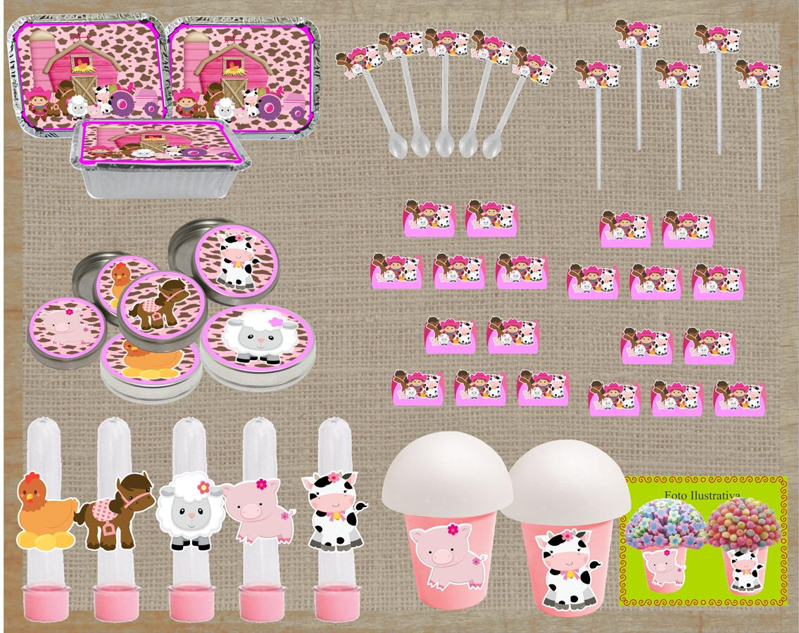 Kit Festa Infantil Fazendinha (menina) 160 Peça