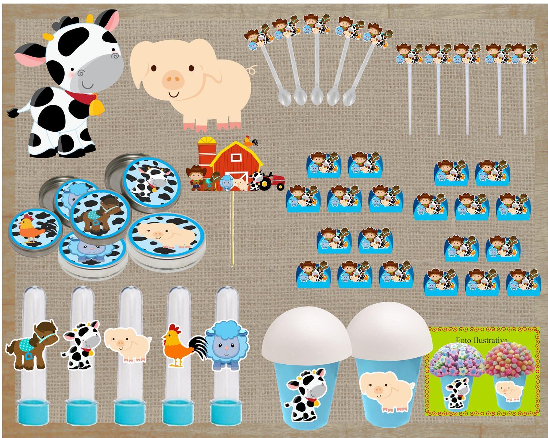 Kit festa infantil Fazendinha Menino 143 peças