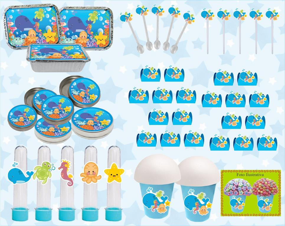 kit festa infantil Fundo do Mar 160 peças