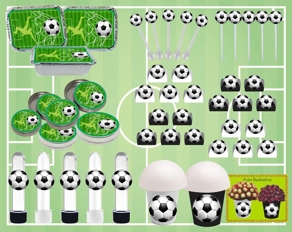 Kit Festa infantil Futebol (preto e branco) 160 peças